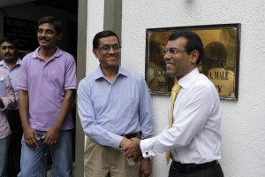 President Nasheed with the Indian High Commissioner H.E. D.M Mulay